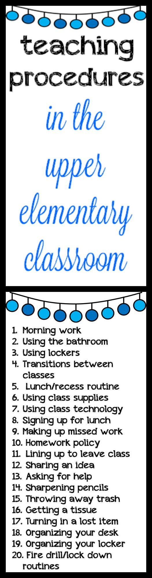 Elementary Classroom Procedures ~ Best ideas about rules and procedures on pinterest
