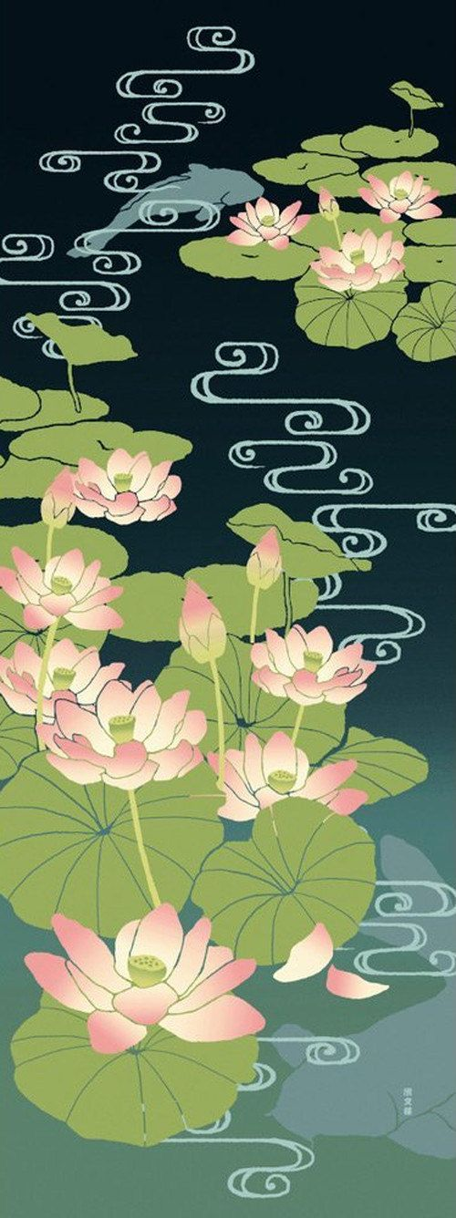 Japanese Tenugui Cotton Fabric, Lotus Flower, Floral Fabric, Hand Dyed Fabric, Abstract Water, Traditional Asian Art Wall, Home Decor, JapanLovelyCrafts