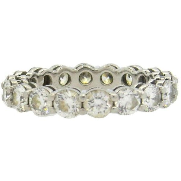 Preowned Tiffany & Co Diamond Platinum Eternity Wedding Band Ring $8 00