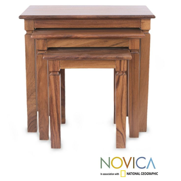 Set Of 3 Parota Wood Hacienda Nesting Tables Mexico By