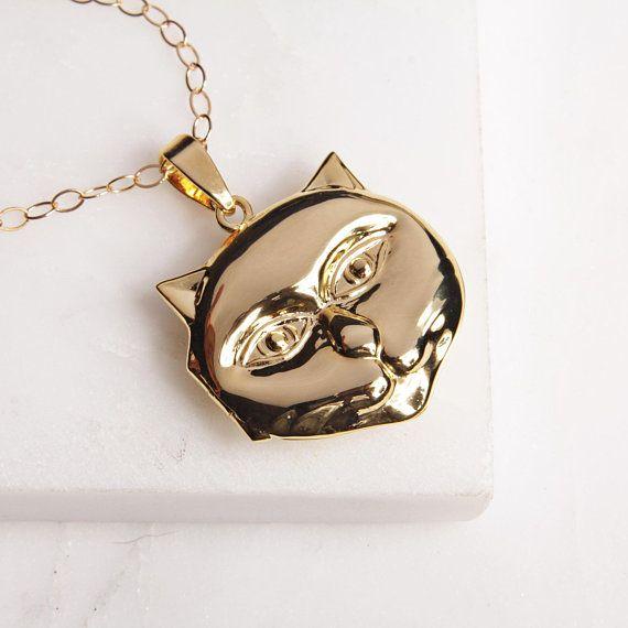 Gold Cat Pendant Gold Cat Locket Necklace Cat Jewelry Gold Necklace Women Womens Necklaces Cat Jewelry