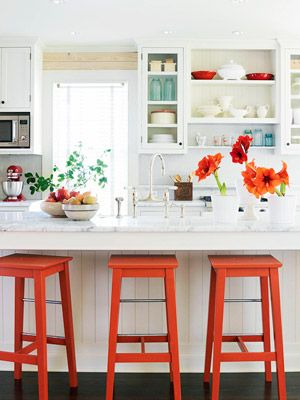 Country Kitchen: Panel StylingDecor, Ideas, Orange Stools, Open Shelves, Barstools, S'Mores Bar, Bar Stools, Bright Colors, White Kitchens