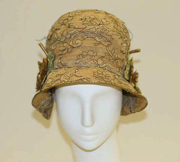 Hat Date: 1920s Culture: American or European Medium: straw, metal. Front