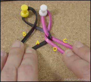 A continuación, será el cabo D el que pasamos por encima del A, volviendo a colocarlo para que quede plano. Es decir, no deben quedar retorcidos.