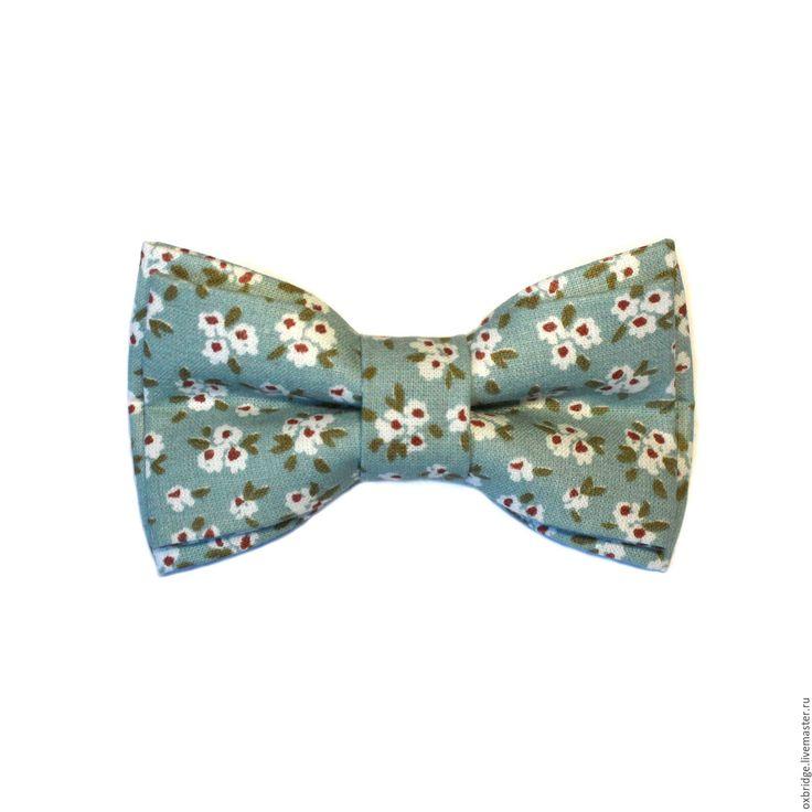 Купить Галстук бабочка мятного цвета в цветочек / Бабочка галстук мятный - галстук бабочка