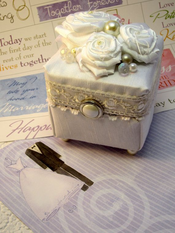 Wedding Ring Box - Upcycled Proposal Ring Box or Ring Bearer's Box - Satin White Handmade Fabric Roses, Pearls and Vintage Button Accents