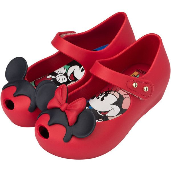 Mini Melissa Ultragirl + Disney& Twins II Mary Jane Flat ($65) ❤ liked on Polyvore featuring kids shoes and red