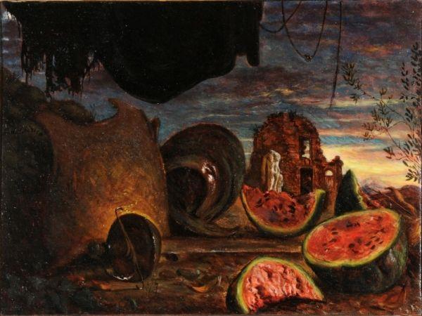 Giorgio De Chirico, Cocomeri con corazza e paesaggio, 1924, olio su tela, cm 74 x 100, UniCredit Art Collection