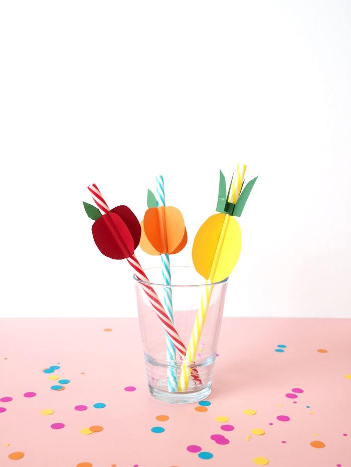 DIY Paper Fruit Straws - Paper and Pin