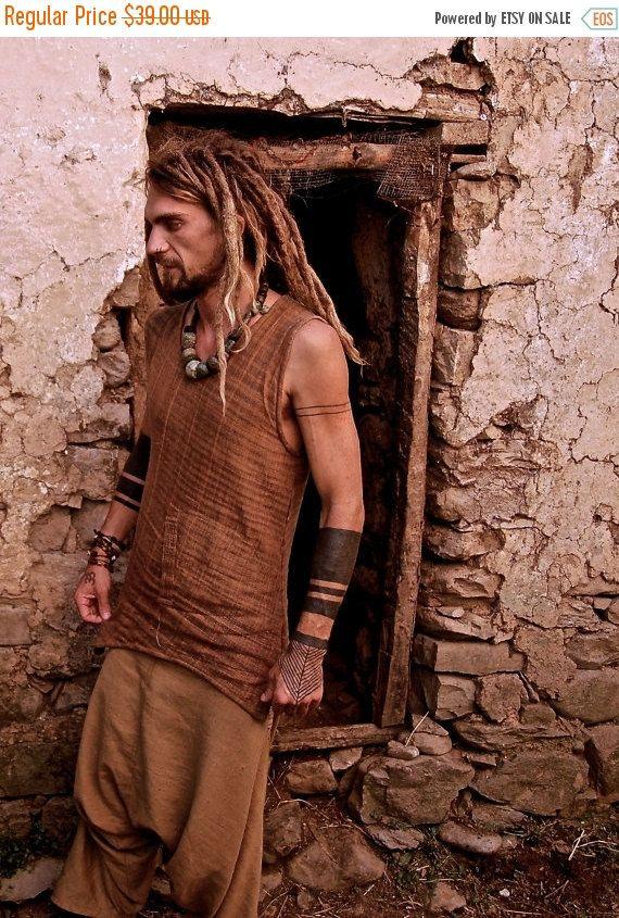 Ärmelloses Herren-Shirt aus Khadi Baumwolle mit Fronttasche Khadi Baumwolle ist handgemachte Stoff und jedes ist einzigartig ;)