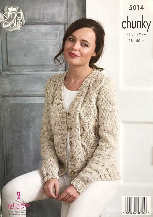 Chunky Cable Knit Cardigans Knitting Patterns Ladies Size 28