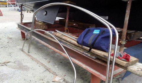 Bimini frame for a motor cruiser.