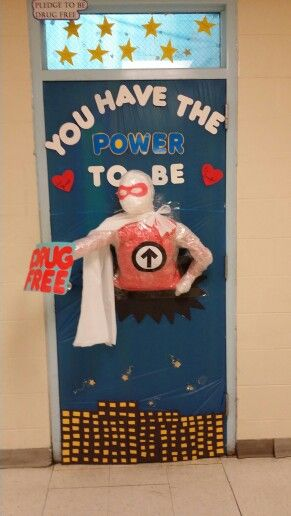 Red Ribbon Week, Drug Free Superhero, classroom door decorations