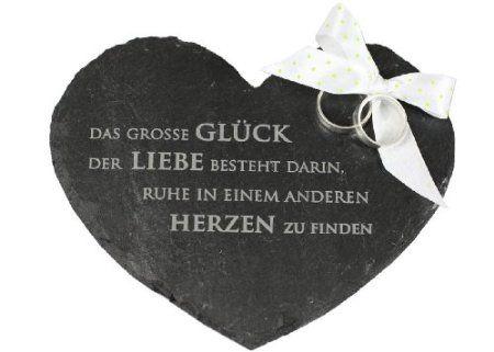 condecoro Ringkissen Herz aus Schiefer Das grosse Glück der Liebe... Ehering Kissen Kirche Standesamt Hochzeit: Amazon.de: Küche & Haushalt