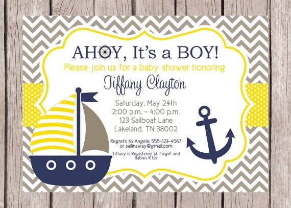 PRINTABLE, Personalized Sailboat Invitation for Baby Shower, Navy Blue, Yellow and Gray Chevron