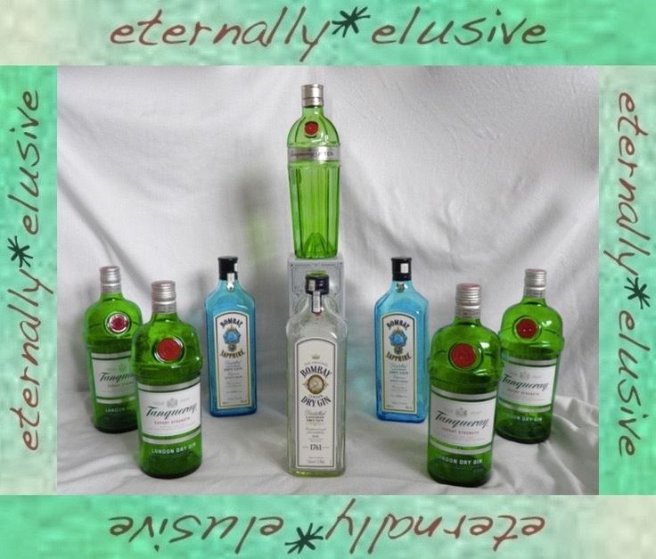 Job Lot 8 EMPTY Glass Bottles Tanqueray Bombay Sapphire No 10 Ten Gin UpCycle