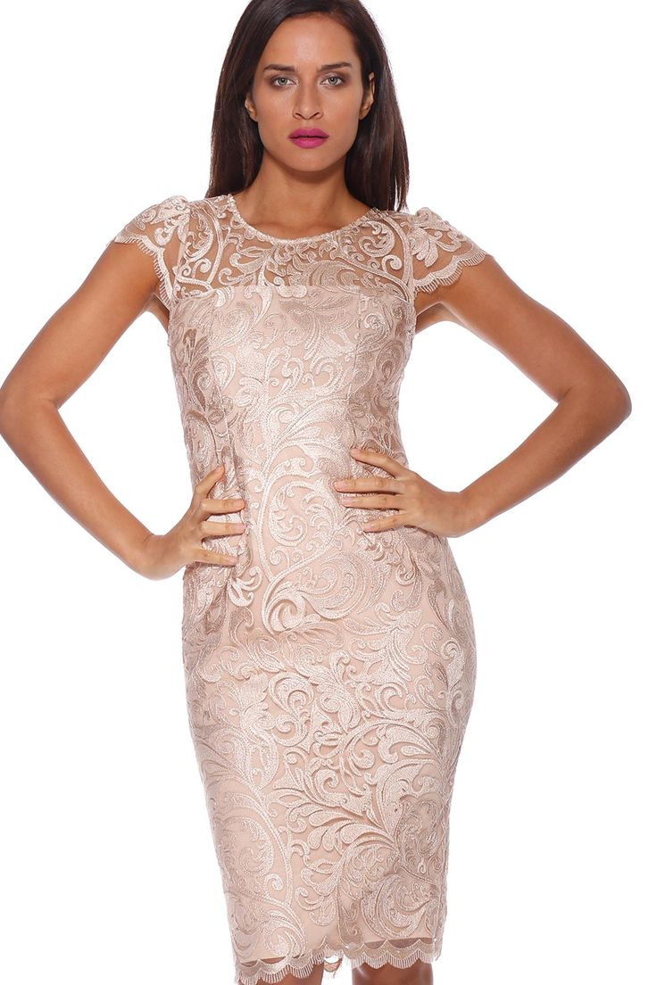 Pink Ruby - Lovelace Cap Sleeve Dress Gold - Pd174107