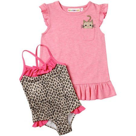 Wippette Newborn Baby Girl Animal Print Swimsuit & Coverup 2pc Set, Size: 6 - 9 Months, Pink
