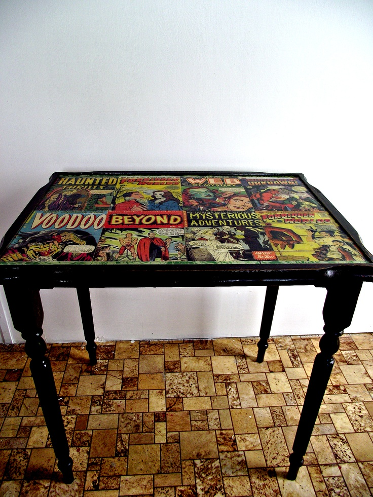 "vintage table with decoupage ""horror"" theme and resin top"