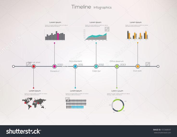 Infografía sobre línea de tiempo. Plantilla de diseño vectorial.                                                                                                                                                                                 Más