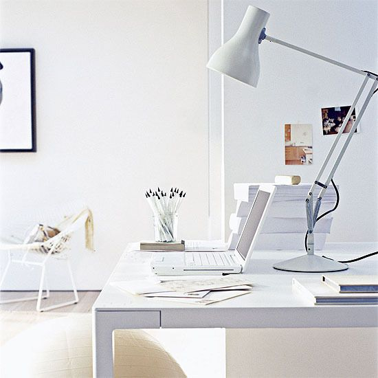 All white workspace
