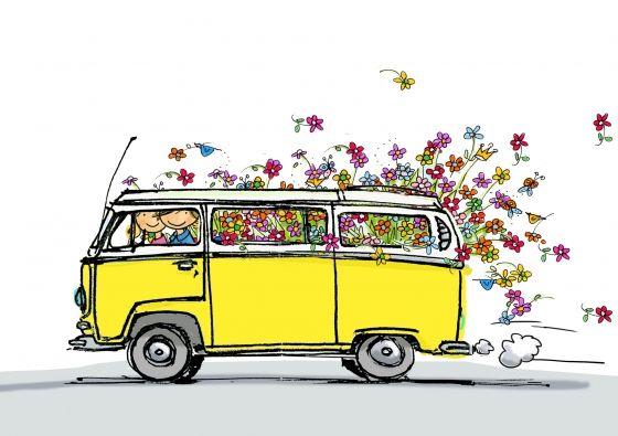 """Verstuur een kaart zoals """"VW bus geel met vele bloemen"""" per post als wenskaart of ansichtkaart - Anet Illustraties"""