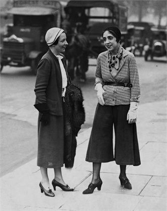 Elsa Schiaparelli wearing the Culottes that made her famous - 1930's.  See blogpost at http://www.whitestole.com/1/post/2014/03/inspiring-the-ages-couture-ballgown-creations-by-elsa-schiaparelli-we-love.html: