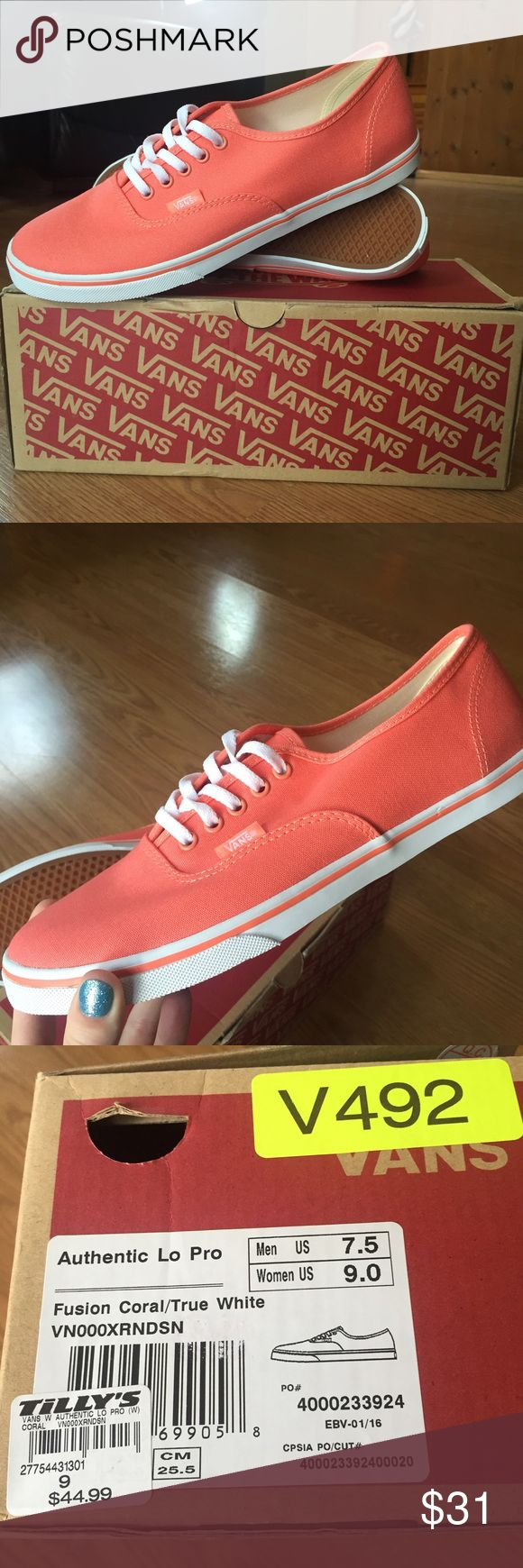 Coral VANS Lo-Pro Authentic VANS, new in box Vans Shoes Sneakers