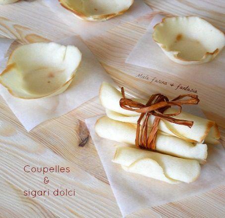 Ricetta base facile per cialde o coupelle e sigari dolci con cui creare golosi dolcetti per i nostri bambini, ospiti e per tutte le occasioni speciali.