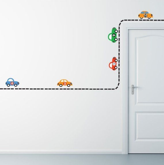 Build Your Own Road- Reusable Wall Stickers, 10 Cars, Transportation, Child Decor, 70 Piece Road