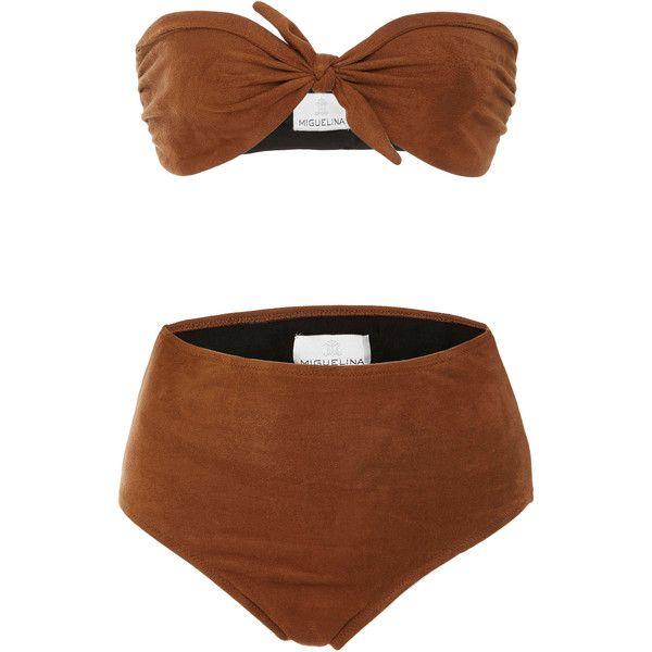 Miguelina Alanis High Waisted Bikini Set ($380) ❤ liked on Polyvore featuring swimwear, bikinis, brown, high rise bikini swimwear, bikini beachwear, bandeau tops, miguelina and highwaist swimwear
