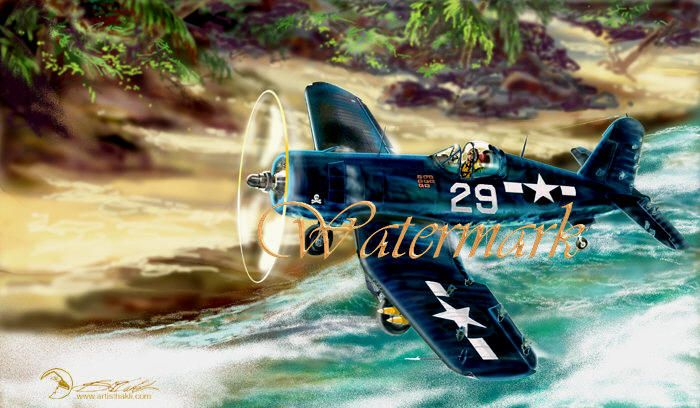 Vought F4U Corsair WWII damaged fighter aircraft painting,  is available for sale, as a printable download file.