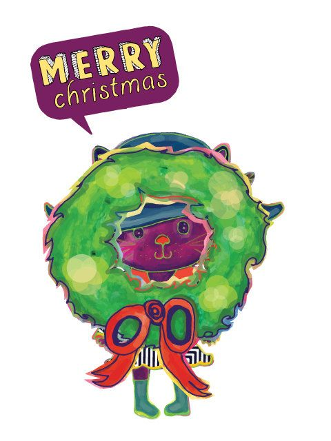 Merry Christmas and a Happy New year card with by PulikiAndFriends, $3.00