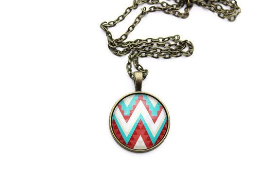 25mm Resin Photo Necklace - Azetc Chevron Necklace - Chevron Jewelry - Pendant Necklace for Women - Antique Bronze Chain Necklace