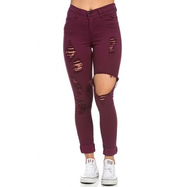 High Waisted Distressed Skinny Jeans in Burgundy (755 MXN) ❤ liked on Polyvore featuring jeans, denim skinny jeans, skinny jeans, stretchy skinny jeans, distressed jeans and ripped jeans