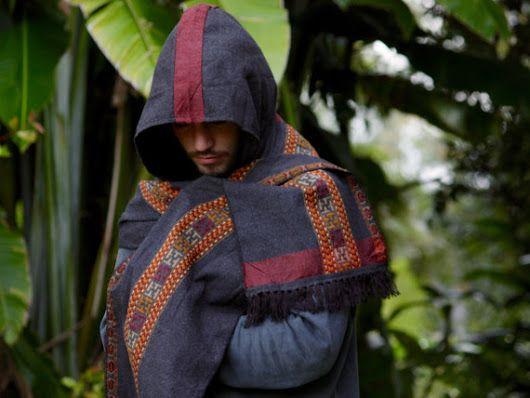 Scarf with Hood Kashmiri Wool Grey Handmade Hoodie Earthy Tribal Pattern Festival Gypsy AJJAYA Mens Wear Winter Warm Primitive Natural