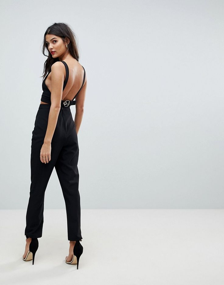 ASOS Jumpsuit with Buckle Detail and Cut Out - Black