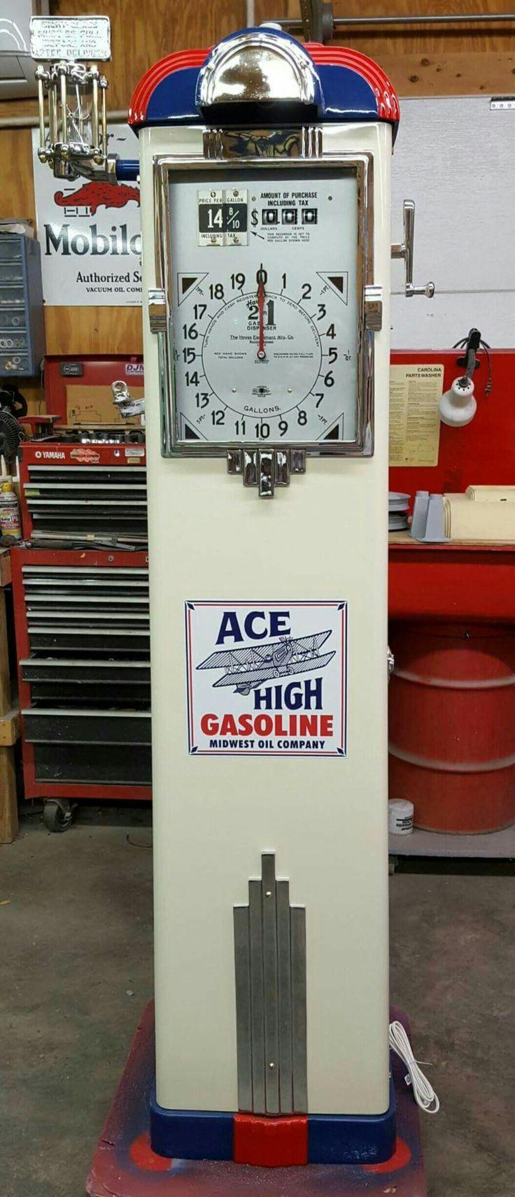 Restored Original Clock Faced Gas Pump - Ace High Gasoline
