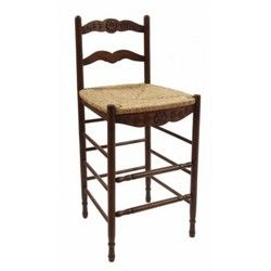 Creme French Country Provence Brown Ladderback Bar Stools with Rush Seats - Free shipping on two or more stools