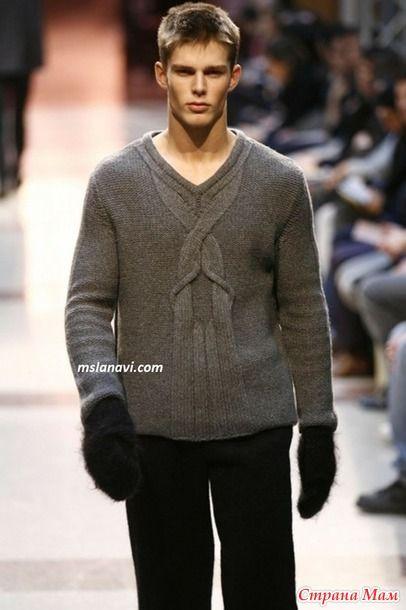 Мужской свитер с интересным араном