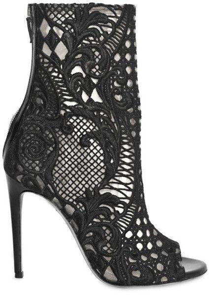 Balmain black Lace Boots booties open toe