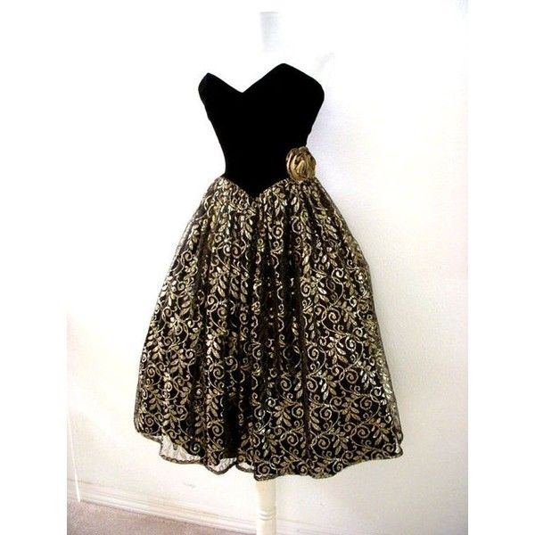 Vintage Black and Metallic Gold Lace Prom Dress 80s Strapless Tea... ❤ liked on Polyvore featuring dresses, strapless lace dress, vintage dresses, vintage tea length dresses, metallic gold dress and strapless dresses