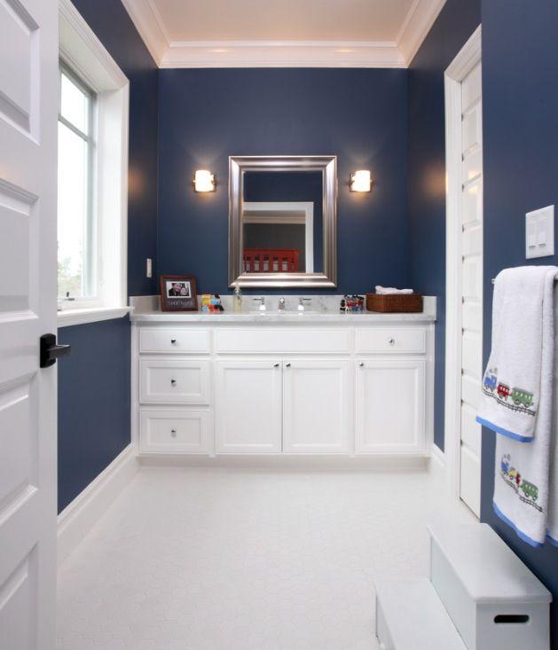 Navy Walls For Kidu0027s Bathroom