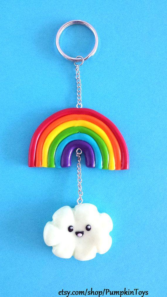 Kawaii Cute Rainbow and Cloud Keychain by PumpkinToys on Etsy, $8.00