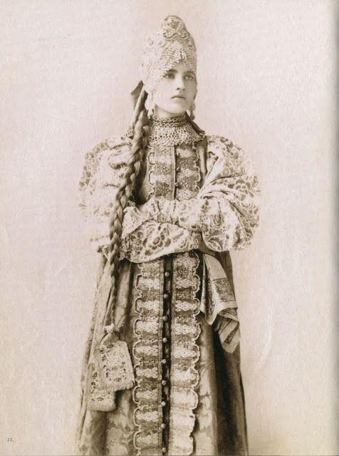 Woman in traditional dress, 19th Century, Province of Novgorod via Local Fashion