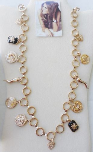 MELANIA-TRUMP-GOLD-TONE-CIRCLE-LINK-36-034-CHARM-NECKLACE-QVC-NEW-IN-BOX
