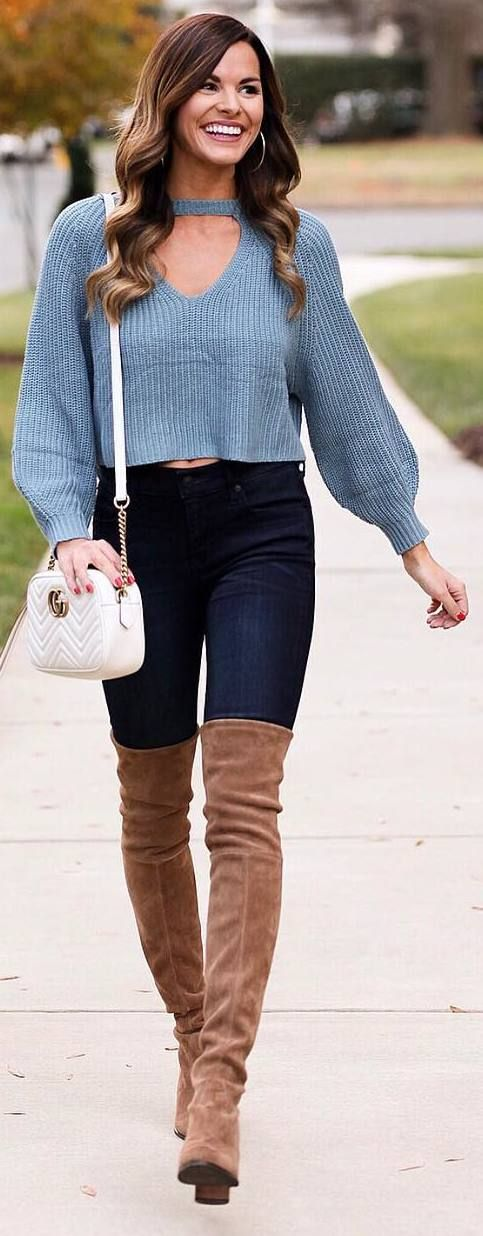 #winter #outfits grey sweater, dark jeans, long brown boots
