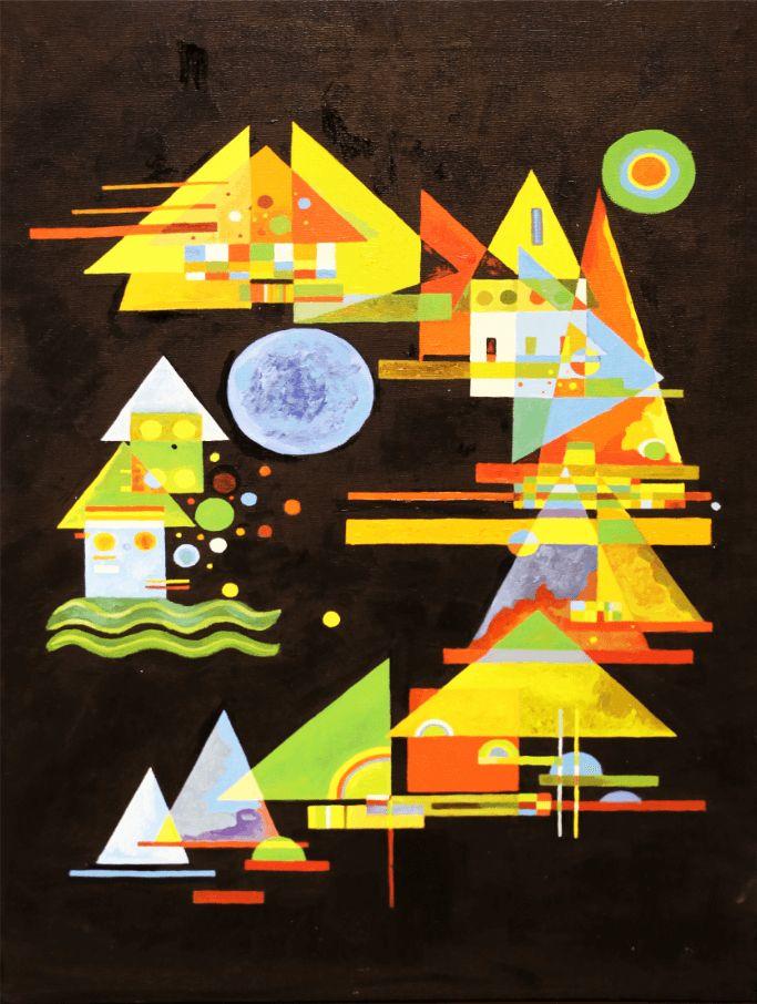 """Картина маслом """"Кандинский на чёрном фоне"""" - Галерея изобразительного и декоративного искусства"""