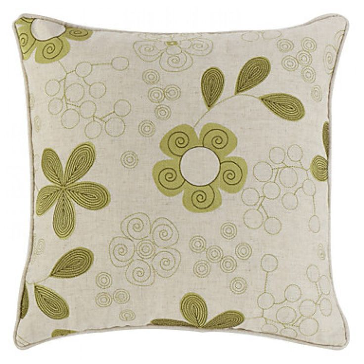 """18"""" Square Country Linen Embroidered Floret Decorative Pillow Cover"""