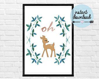 Oh Deer Print - Instant Download Print - Printable Art
